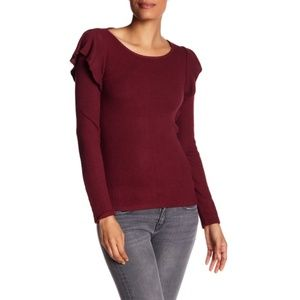 Lucky Brand Ribbed Ruffle Long Sleeve Knit Top
